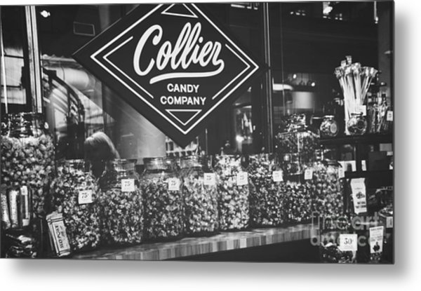 Candy Store- Ponce City Market - Black And White Metal Print