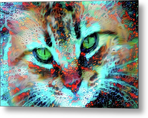 Candy The Colorful Green Eyed Cat Metal Print