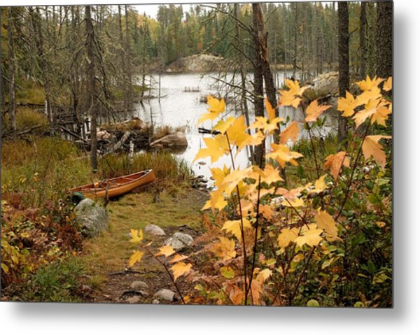 Canoe At Little Bass Lake Metal Print
