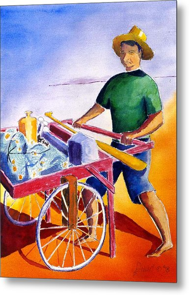 Canoe Fisherman With Cart Metal Print by Buster Dight