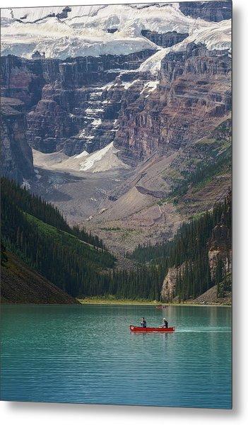 Canoe On Lake Louise Metal Print