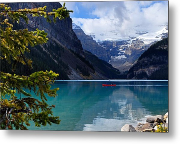 Canoe On Lake Louise Metal Print