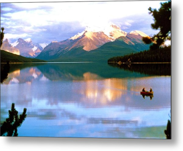 Canoe On Malign Lake Metal Print