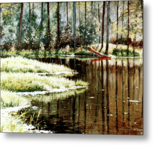 Canoe On Pond Metal Print