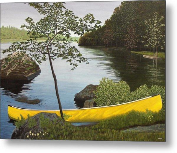 Canoe On The Bay Metal Print
