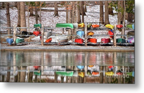 Canoe Reflections Metal Print