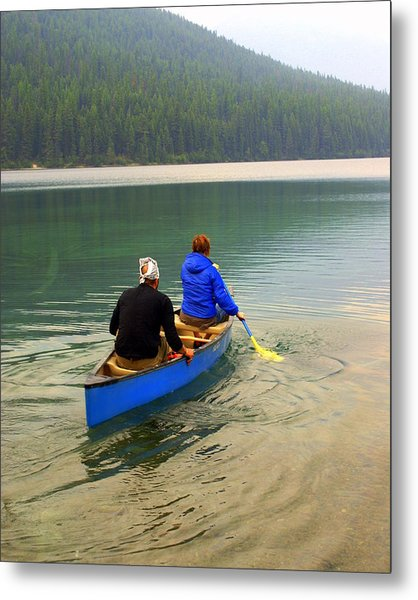 Canoeing Glacier Park Metal Print