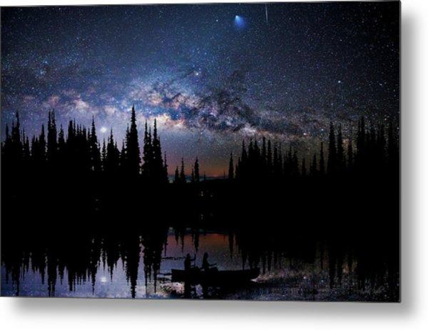 Canoeing - Milky Way - Night Scene Metal Print