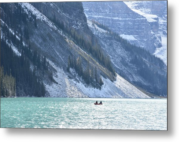 Canoeing On Lake Louise Metal Print