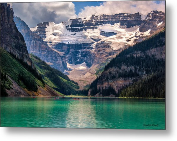 Canoes On Lake Louise Metal Print