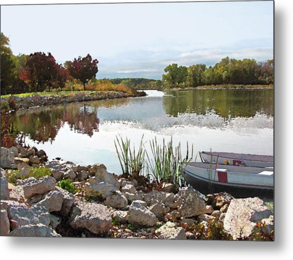 Canoes On Monee Lake - Limited Edition Metal Print