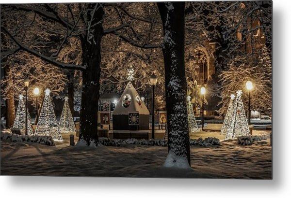Canopy Of Christmas Lights Metal Print