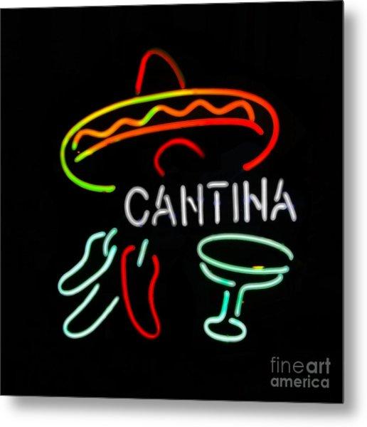 Cantina Neon Sign Metal Print