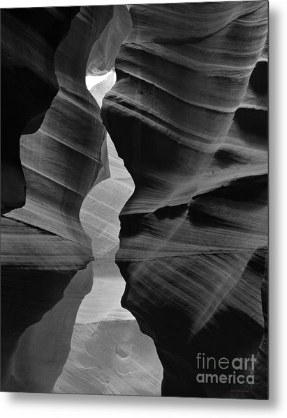 Canyon Curves In Black And White Antelope Canyon Metal Print
