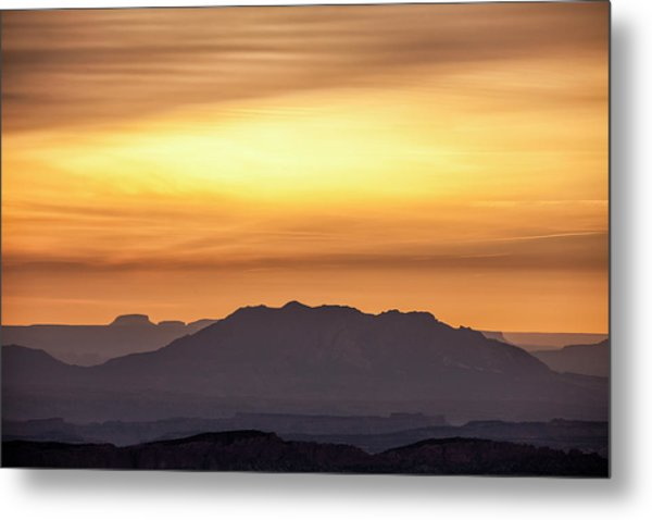 Canyon Layers With Fiery Sunrise Metal Print