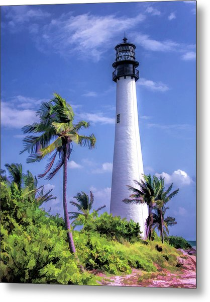 Metal Print featuring the painting Cape Florida Lighthouse by Christopher Arndt