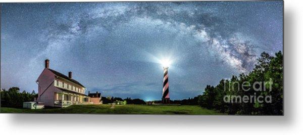Cape Hatteras Light House Milky Way Panoramic Metal Print