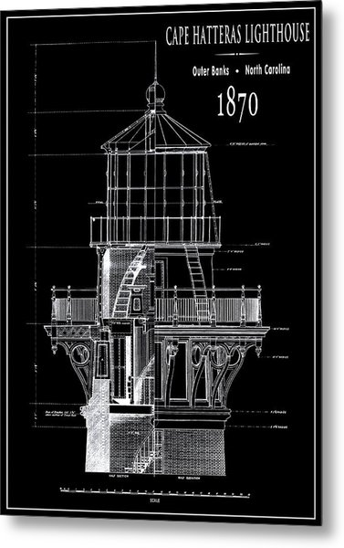 Cape Hatteras Lighthouse Engineering Drawing 1869 Metal Print