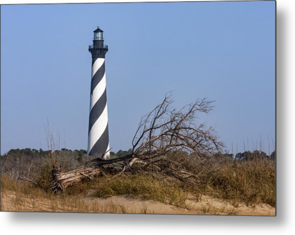 Cape Hatteras Lighthouse With Driftwood Metal Print