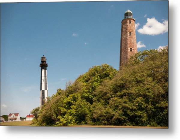 Cape Henry Lighthouses Old And New Metal Print