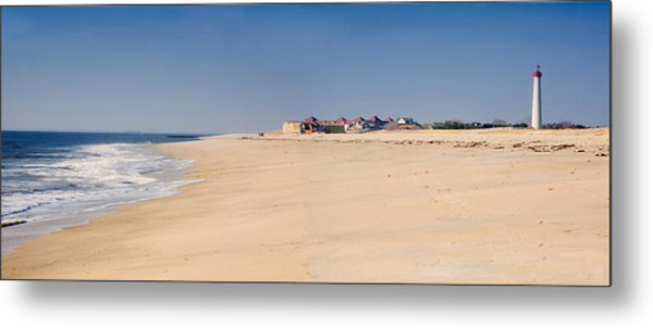 Cape May Beach Panorama New Jersey Metal Print by George Oze