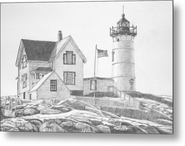 Cape Neddick Light House Drawing Metal Print