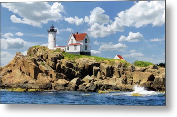 Metal Print featuring the painting Cape Neddick Lighthouse by Christopher Arndt
