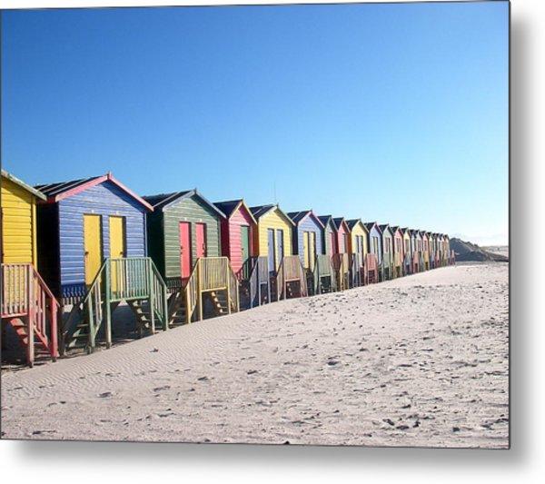 Cape Town Beachhuts Metal Print by Linda Russell