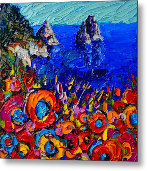Capri Faraglioni Italy Colors Modern Impressionist Palette Knife Oil Painting By Ana Maria Edulescu  Metal Print