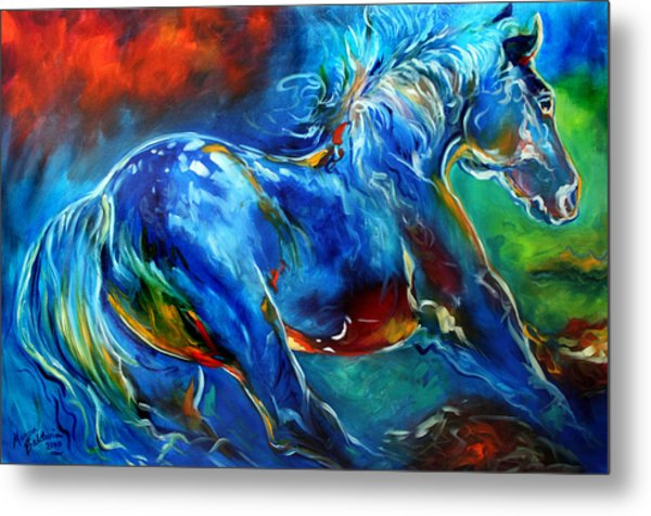 Captured Wild Stallion Metal Print