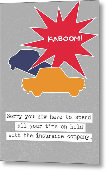 Car Accident Card- Art By Linda Woods Metal Print