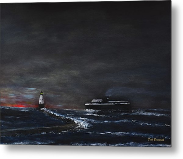 Car Ferry Badger November Crossing Metal Print