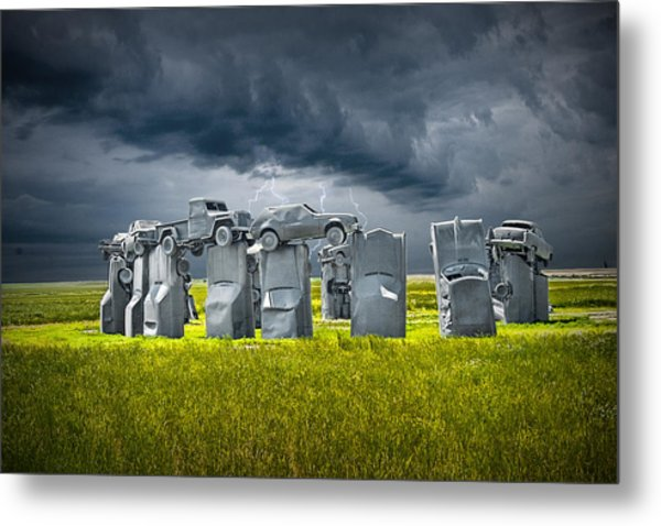 Car Henge In Alliance Nebraska After England's Stonehenge Metal Print