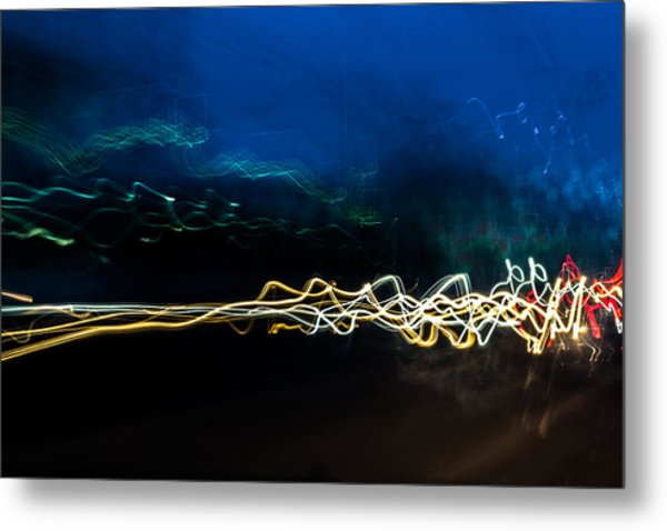 Car Light Trails At Dusk In City Metal Print