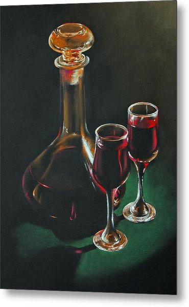 Carafe And Glasses Metal Print by Alan Stevens