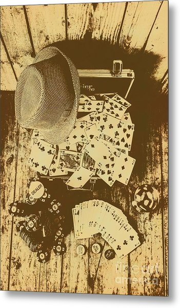 Card Games And Vintage Bets Metal Print