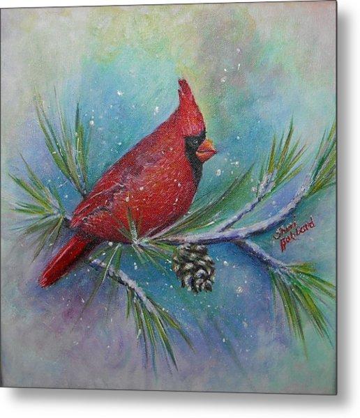 Cardinal And Delta Snow Metal Print by Sheri Hubbard