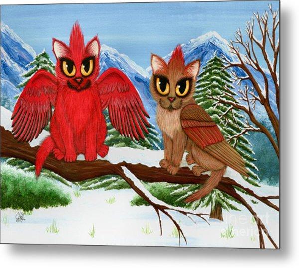 Cardinal Cats Metal Print