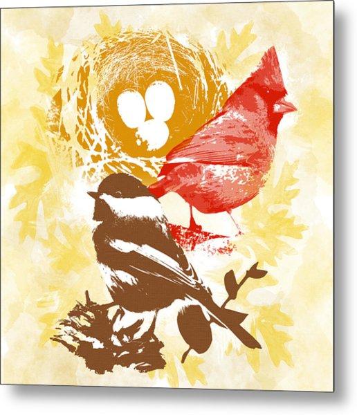 Cardinal Chickadee Birds Nest With Eggs Metal Print
