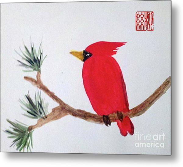 Cardinal In My Backyard Metal Print