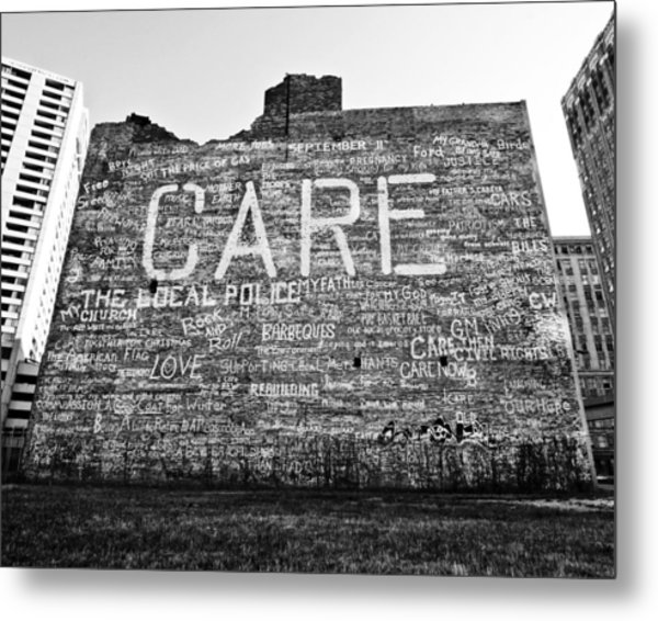 Care Graffiti Building Metal Print by Alanna Pfeffer