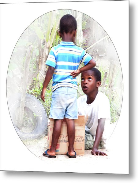 Caribbean Kids Illustration Metal Print