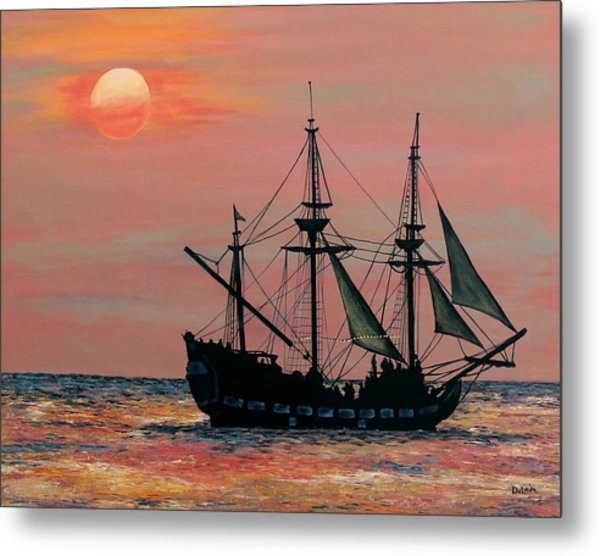 Caribbean Pirate Ship Metal Print