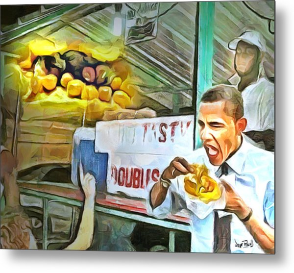 Caribbean Scenes - Obama Eats Doubles In Trinidad Metal Print