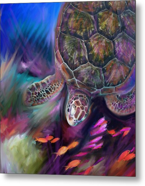 Caribbean Sea Turtle Metal Print