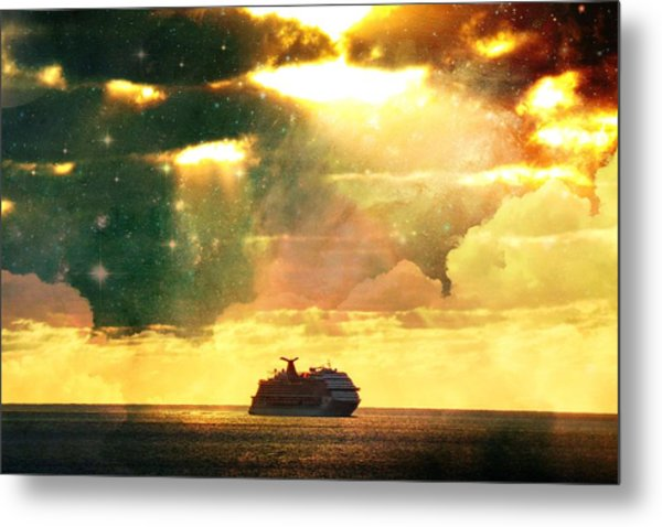 Caribbean Sunset Cloud Art Metal Print