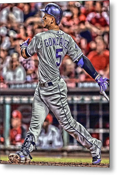 Carlos Gonzalez Colorado Rockies Art 1 Metal Print