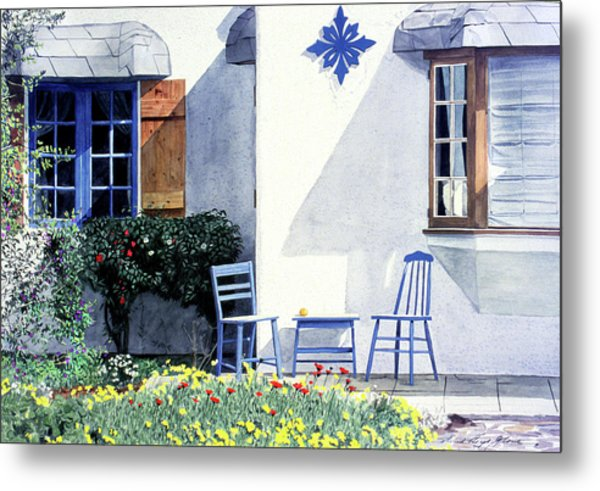 Carmel Cottage With Orange Metal Print by David Lloyd Glover