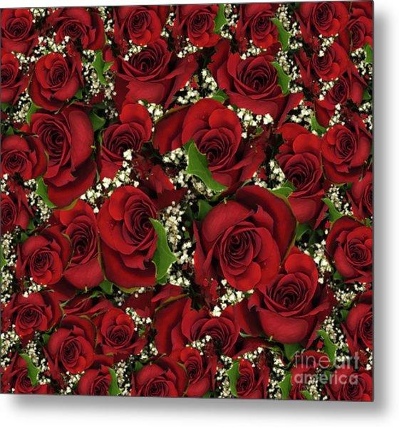 Carmine Roses Metal Print