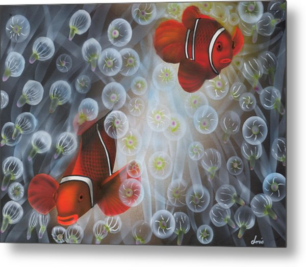 Carnival Clowns Metal Print by Doris Hodgson